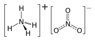Structural formula: ammonium cation (left) and nitrate anion (right),