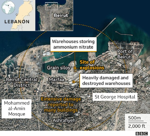 Satellite photo map of Beirut, before the blast.