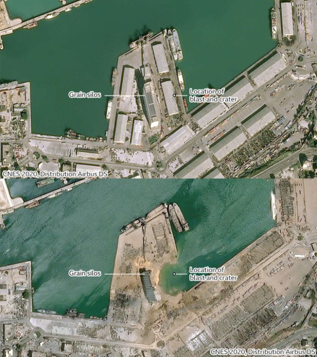 Port of Beirut: before and after the August 4, 2020 blast.