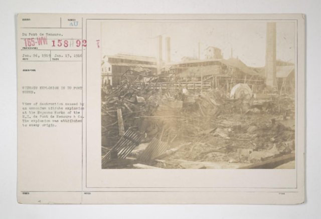 '...Destruction by Enemy in U.S. - Nitrate explosion in Du Pont works....'