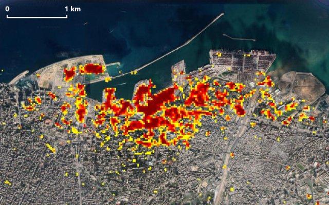 Beirut ARIA Damage Map. (August 7, 2020)