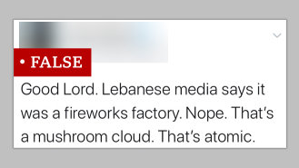 An inaccurate tweet, saying the Beirut blast was 'atomic.'