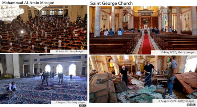 'Before' and 'after' at Beirut's Mohammad al-Amin mosque and St. George church.