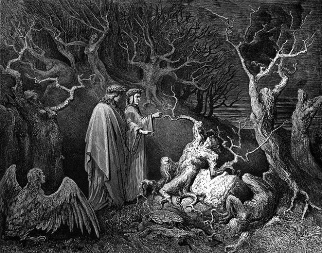 A Gustave Doré illustration for Dante's Inferno, Canto XIII, line 34.