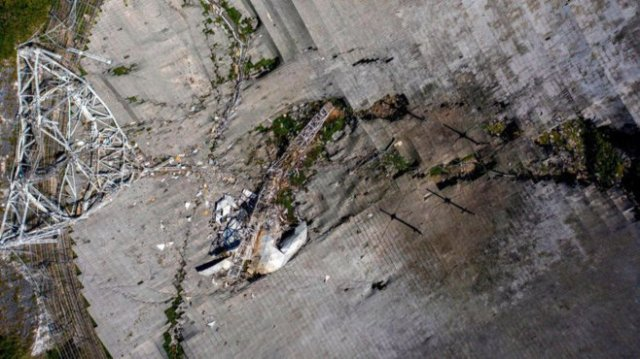 Aerial view of Arecibo radio telscope, after December 1, 2020, collapse.