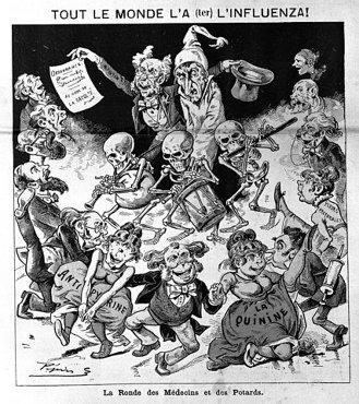 Influenza, politicians, druggists and death: 1890 cartoon.