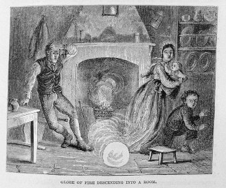 Ball lightning entering through a chimney, from Hartwig's 'The Aerial World.' (1886)