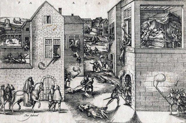Frans Hogenberg's version of the St. Bartholomew's Day massacre. (ca. 1572)