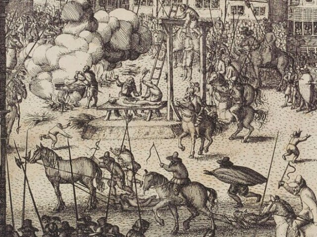 Claes Jansz Visscher's Gunpowder plot executions etching, detail. (1606)