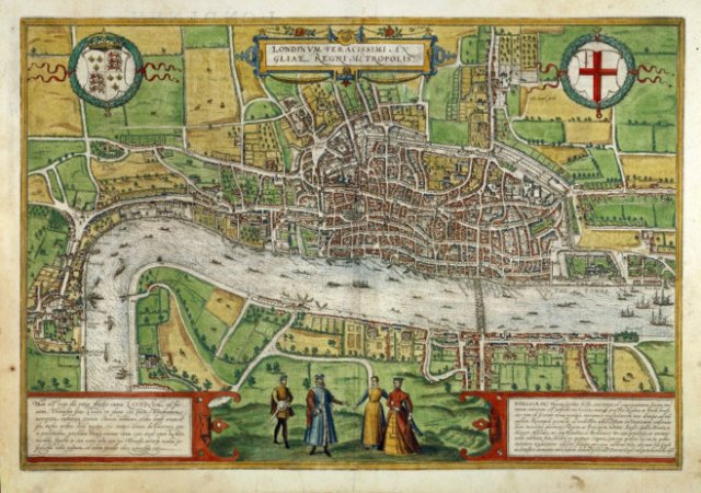 1574 map of London: MAP L85c no.27., Exhibited in 'Open City: London, 1500–1700'; Folgerpedia.
