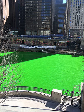 TDKR Chicago 101's Chicago River dyed green for the St. Patrick's Day parade, used w/o permission. (March 17, 2018)