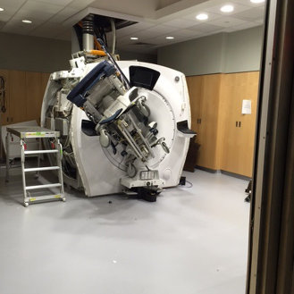 Brigham and Women's Hospital's MRI room, after someone let a gurney get too close. From  Betsy Lehman Center for Patient Safety, Boston, used w/o permission. (2016)