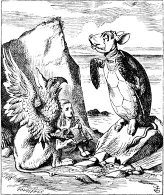 John Tenniel's Alice, Griffin and Mock Turtle for chapter nine of Carroll's 'Alice in Wonderland.' (1865)