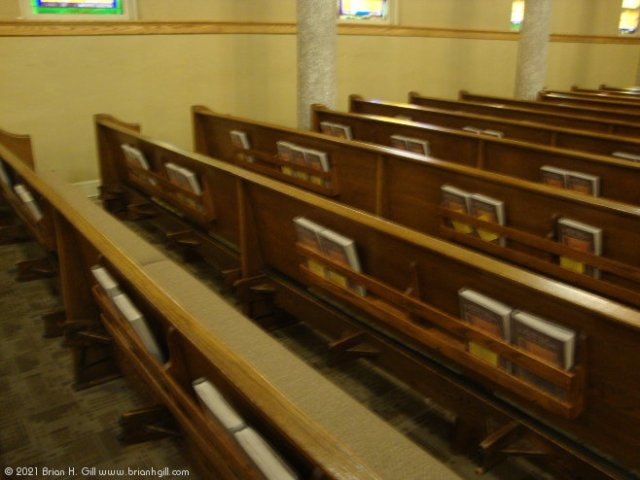 Pew cushions in Our Lady of the Angels, Sauk Centre. (May 23, 2021)