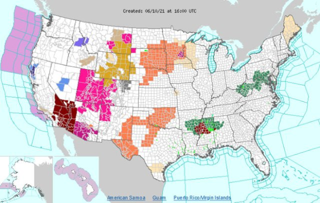 Continental U.S. Weather. From National Weather Service, used w/o permission. (1600 UTC, June 10, 2021)