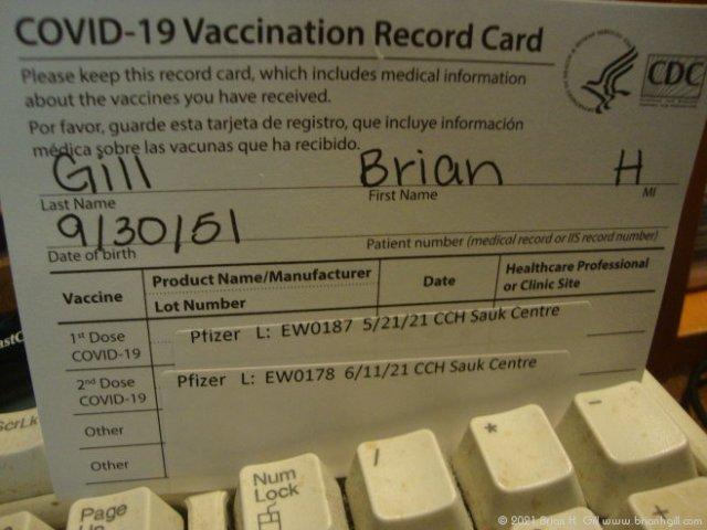 COVID-19 Vaccination Record Card. (June 11, 2021)