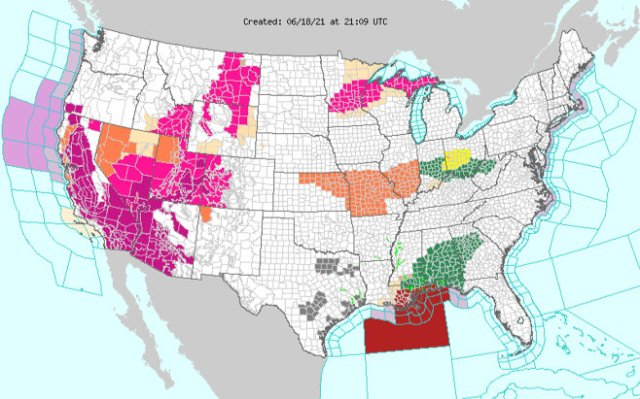 National Weather Service map. (21:09 UTC June 18, 2021)