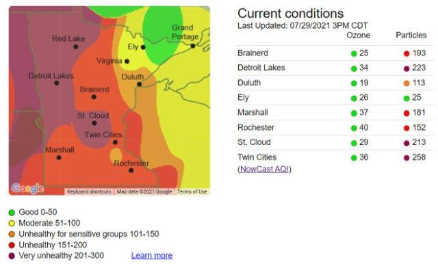 Minnesota Air Quality Index Map. (3:00 p.m. CDT July 29, 2021)