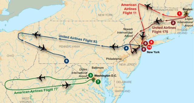 FBI's map, showing flight paths of the four aircraft hijacked September 11, 2001. (May 18, 2011))