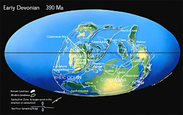 Map of Earth in the Early Devonian, 390,000,000 years ago, from Christopher R. Scotese's PALEOMAP Project at scotese.com