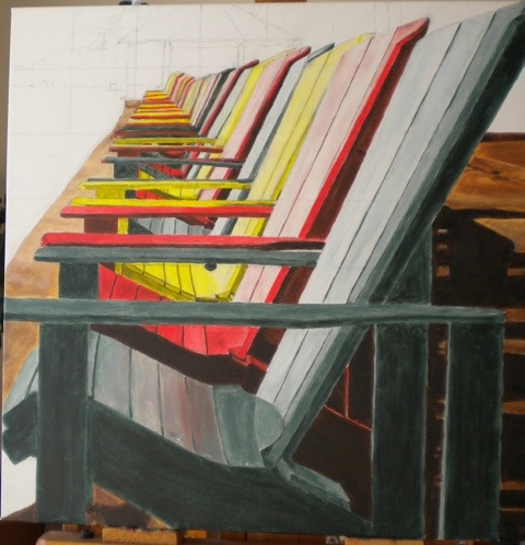Muskoka Chairs after first layer of paint