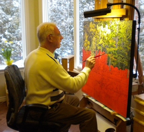 Bruce Stonehouse at his easel
