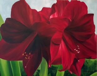 """Crimson Joy"" Brenda Stonehouse 16"" x 20"" oil on canvas. Available for purchase."