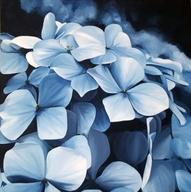 """""""Moody Blues"""" Brenda Stonehouse 24""""x24"""" oil on canvas. Available for purchase."""