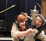 Me behind the mic with office manager Cathy.