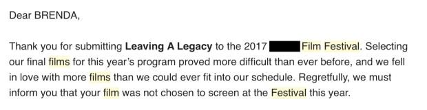 Film Festival Rejection
