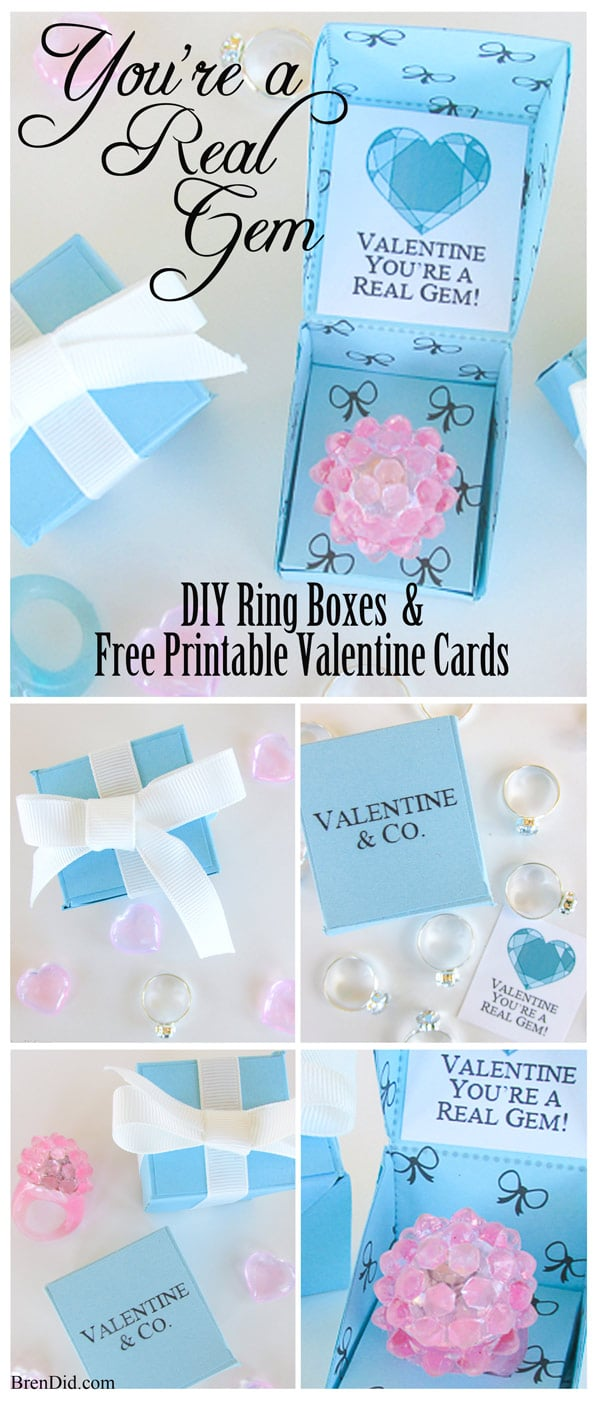 """Let your Valentine know they are """"A Real Gem"""" with a sweet DIY Gift Box and Free Printable Valentine Cards. These Tiffany & Co. inspired Valentine's hold a precious trinket of your choice and are a great substitute for candy. Get the full details at BrenDid.com"""
