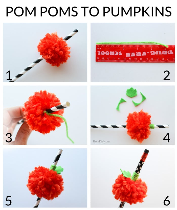 Pumpkin Pom Pom Straws – Make this simple Halloween Pumpkin Craft with no special equipment! All you need is a fork, yarn and craft felt to make this adorable decoration for your Halloween party.