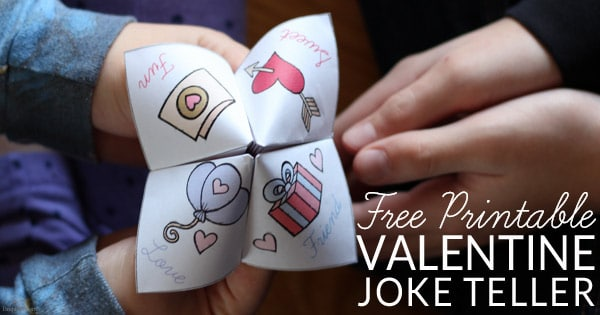 Humor and paper crafts combine in this hilariously fun fortune teller (cootie catcher) filled with silly Valentine jokes. Get your free printable Valentine Joke Teller for non-candy Valentines.