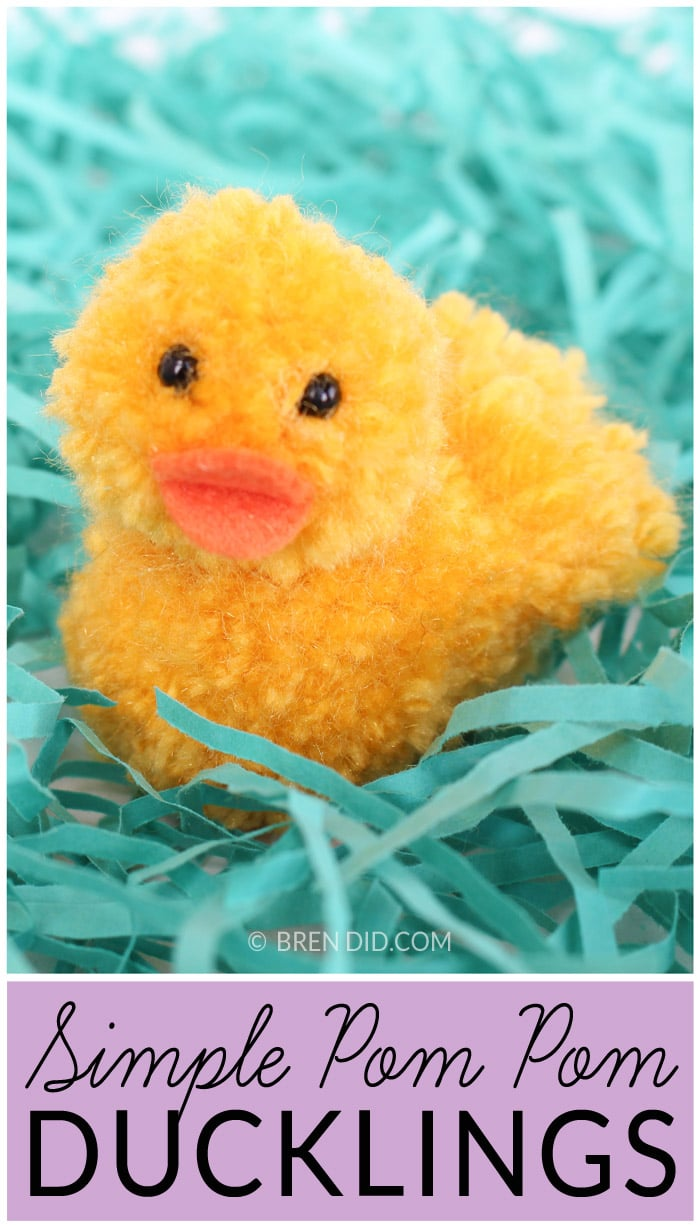Simple Pom Pom Ducklings – Learn how to make pom pom pets for Easter. Simple craft using yarn and craft felt. This adorable duckling tutorial is available at BrenDid.com