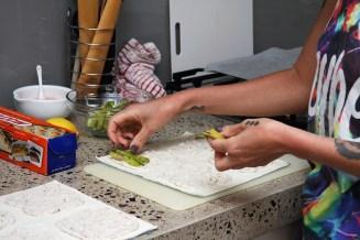 Lay the asparagus on the almond cream