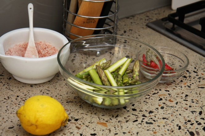 Cut the asparagus into equal batons