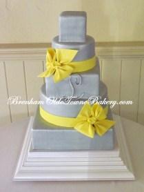Gray and Canary Wedding Cake