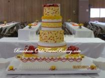 Salmon & Yellow Wedding Cake