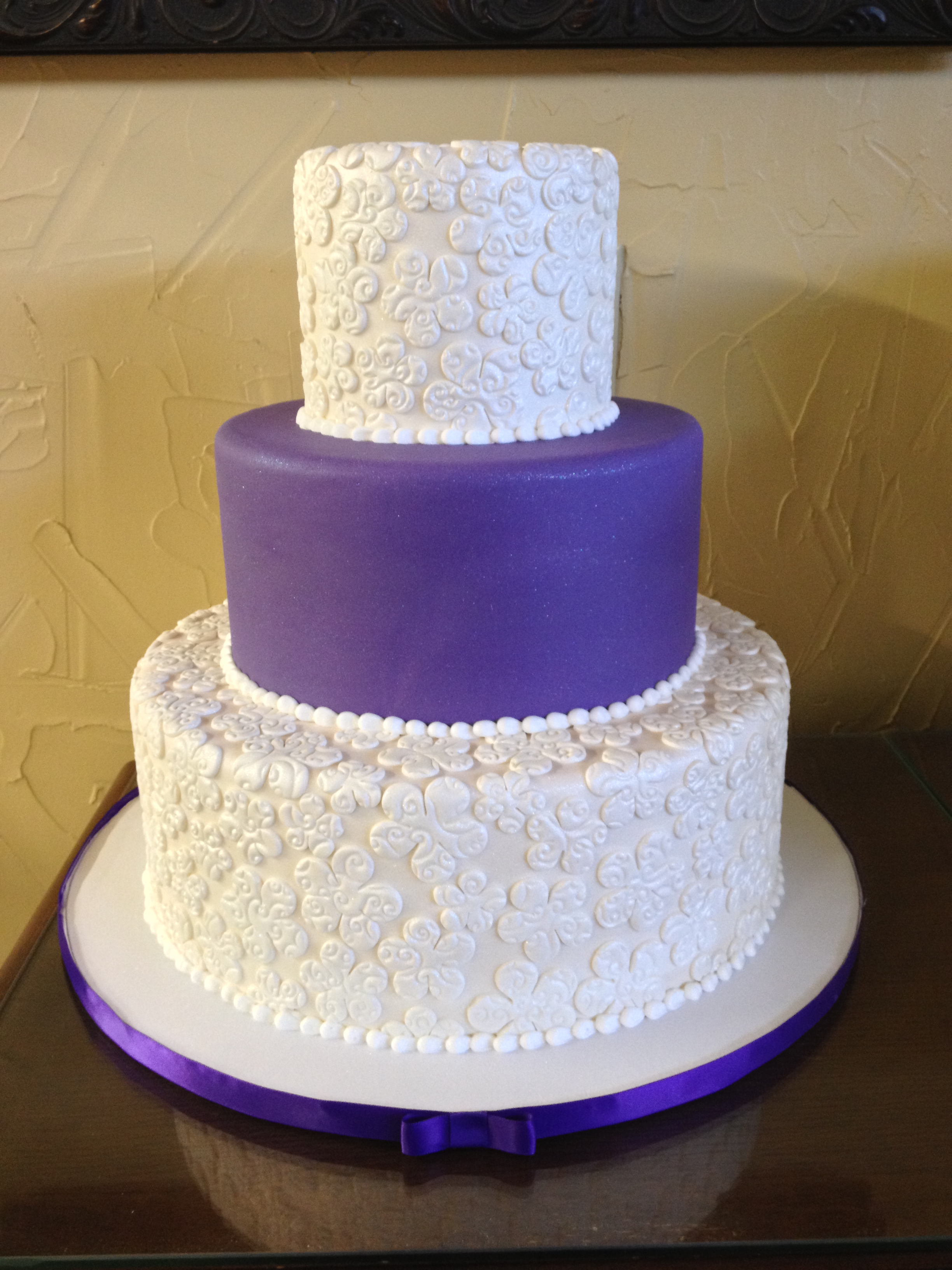 Purple And Glitter Whimsy Lace Wedding Cake Brenham Olde