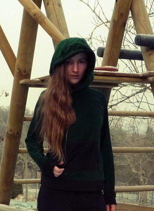 Jogginganzug grün-brau Nicki-Stoff nähen