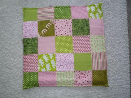 Brennender Schuh - Babydecke rosa - hellgrün mit Name