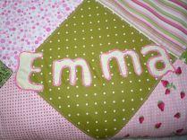 Brennender Schuh - Babydecke Schriftzug Emma