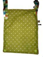 Brennender Schuh - Mini-Handtasche Rückseite, volle Größe, grün weiße Punkte, Kam-Snaps zum Verkleinern