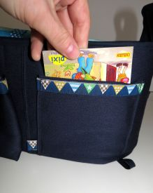 Brennender-Schuh Einsteck-Tasche für Pixi-Buch, Kinderwagen-Organizer genäht