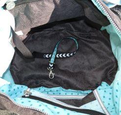 Blick in die Tasche - Geldbeutelsicherungsband - Schlüsselband, große Handtasche - Wickeltasche genäht, Anthrazit - Mint , Reißverschlussfach Mesh, Netzstoff