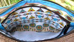 BrennenderSchuh Blick in die Fransen-Handtasche im Leder-Reptilien-Indianer-Look mittlere Größe, braun-türkis