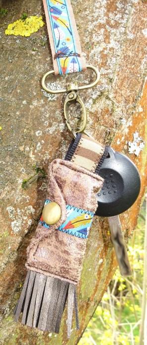 BrennenderSchuh Einkaufs-Chip-Täschchen mit Kam-Snap-Knopf für Autoschlüssel, Leder-Reptilien-Indianer-Look, genäht