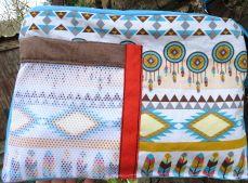 Innenseite mit Einsteck-Fach, Handytasche aus Mesh, Netzstoff in Fransen-Handtasche im Leder-Reptilien-Indianer-Look, braun-türkis, genäht