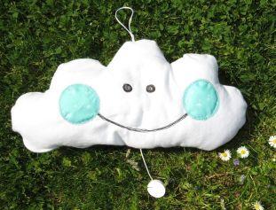 freundliche Wolke, weiche Spieluhr für Babys aus Molton weiß mint, Musik Forrest Gump
