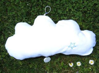 Rückseite mit Stern, Spieluhr Wolke mit Gesicht, Forrest Gump, genäht Molton, Baby, weiß mint